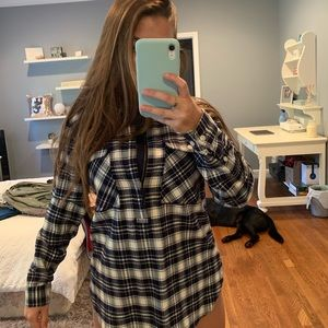 J-Crew flannel half zip